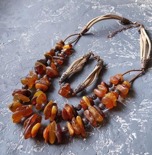 Комплект з натурального бурштину намисто, браслет