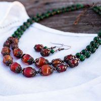 Комплект из натурального сердолика бусы и серьги