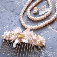 Комплект свадебный или праздничный из натурального жемчуга и кристаллов