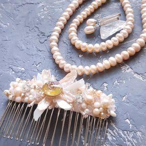 Украшения ручной работы Комплект свадебный или праздничный из натурального жемчуга и кристаллов