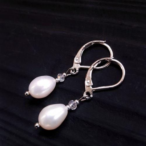 Срібні сережки з натуральними білими перлами високого класу