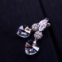 Сережки з кристалами Swarovski у формі серця