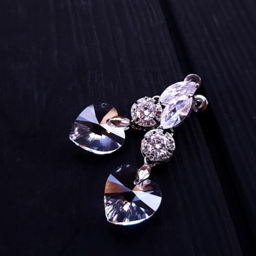 Серьги с кристаллами Swarovski  в форме сердца