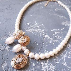 Гармаш Олена Комплект з натуральних перлів у позолоті