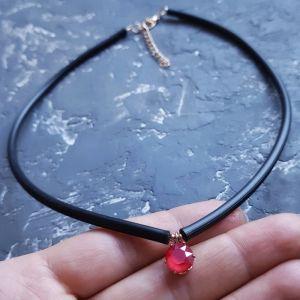 Чорне кольє Кольє - чокер з кристалом Swarovski колір на вибір