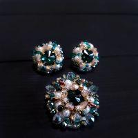 Компект брошка та сережки з кристалами Swarovski