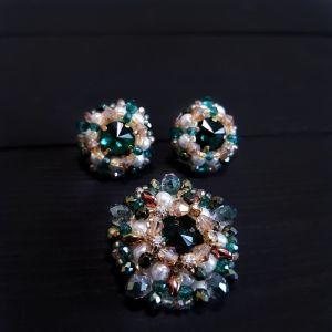 Комплекты Комплект брошь и серьги с кристаллами Swarovski