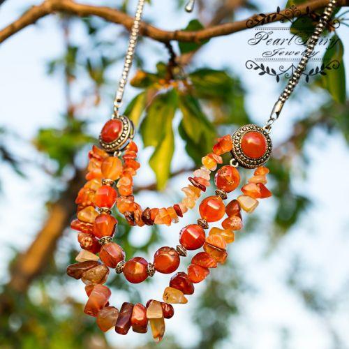 Колье из натурального сердолика Персик