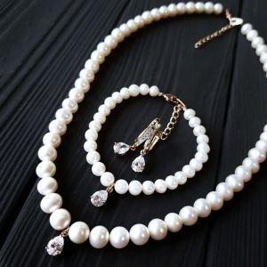 Комплект з натуральних перлів з кристалами у позолоті