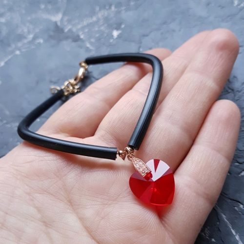 Браслет з кристалом Swarovski серце колір на вибір