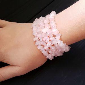 Розовый браслет Браслет из натурального розового кварца пятирядный