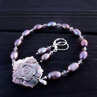 Комплект з натуральних перлів та перламутру браслет сережки