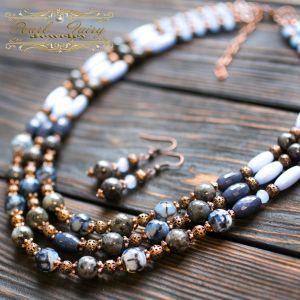 Ожерелье из кошачьего глаза Ожерелье из натуральных камней лабрадорит и кварц