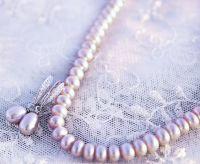Комплект натуральні лавандові перли кольє сережки