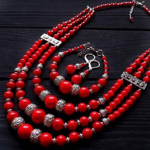 """Комплект """"Переспіви"""" намисто, браслет, сережки зі срібними застібками"""