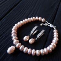 Комплект браслет и серьги с натуральным жемчугом