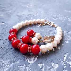 Комплекты Комплект з натуральних перлів та коралів браслет сережки