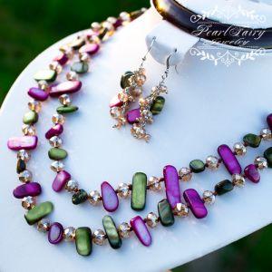 Комплект из перламутра и кристаллами ожерелье и серьги