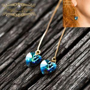 Серьги с камнями сваровски Позолоченные серьги Сердце кристаллы Swarovski