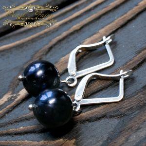 Cережки з чорними перлами Сережки з натуральних перлів у сріблі 925 проби
