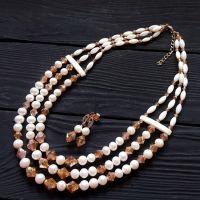 Намисто з натуральних перлів, баламутів та кристалів