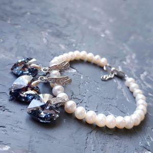 Комплекты Комплект украшений с натуральным жемчугом и Swarovski  кристаллами