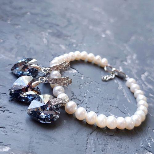 Комплект украшений с натуральным жемчугом и Swarovski  кристаллами