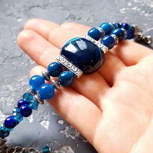 """Bracelets Браслет з натуральних агатів та кристалів """"Синьоока красуня"""""""