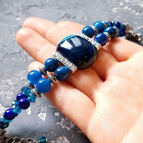 """Браслет з натуральних агатів та кристалів """"Синьоока красуня"""""""