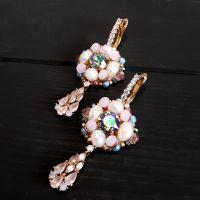 Позолочені сережки з кристалами Swarovski та натуральними перлами