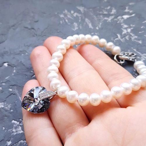 Браслет с натуральным жемчугом и Swarovski кристаллами