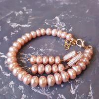 Браслет та сережки з натуральними перлами у позолоті