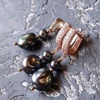 Комплект з натуральних перлів Кейши сережки та кулон