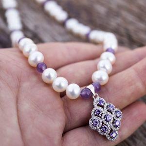 Кольє з аметисту Срібло 925, натуральні перли і аметисти кольє з підвіскою