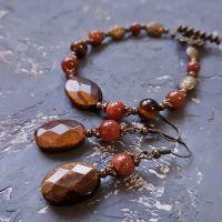 Комплект с натуральным камнем тигровый глаз браслет серьги