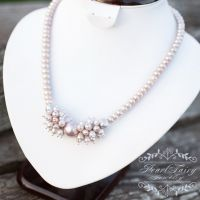 Кольє з натуральних лавандових перлів та майоліки