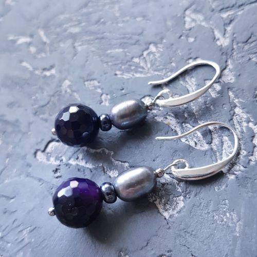 Серьги из жемчуга и кварца с серебряными застежками - изображение 1