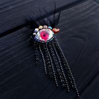 """Брошка """"Eye"""" з кристалом Swarovski у формі ока та стразами"""