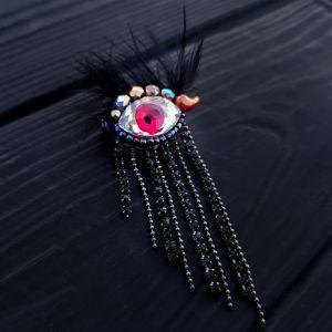 """Брошь """"Eye"""" с кристаллом Swarovski в форме глаза и стразами"""