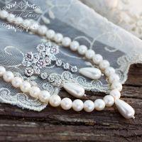 Натуральный жемчуг комплект украшений на свадьбу, выпускной