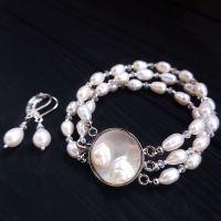 Браслет з натуральних перлів, застібка з перлинами, що народжуються