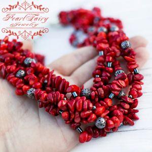 Beaded necklaces П'ятирядне намисто з натуральних коралів та гематиту