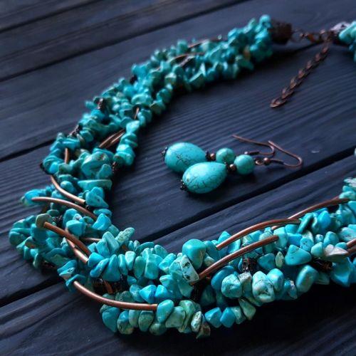 Комплект из бирюзы голубой ожерелье пышное и серьги