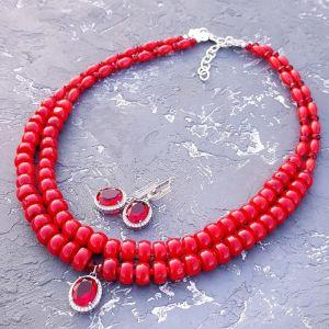 Гармаш Олена Комплект з натуральних коралів та срібла 925 намисто сережки
