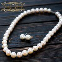 Роскошное ожерелье из крупных натуральных белого жемчуга в серебре