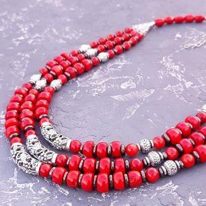 Beaded necklaces Намисто трьохрядне з натуральних коралів та гематиту
