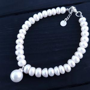 Браслети з перлами Браслет з науральних перлів з підвіскою Майорка