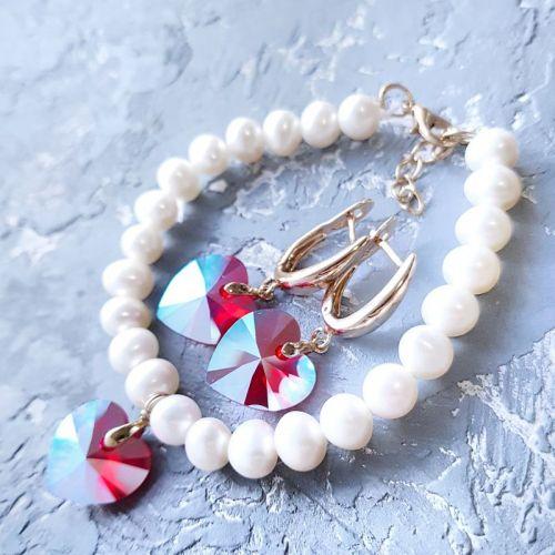Натуральный жемчуг и кристаллы Сваровски браслет и серьги - изображение 1