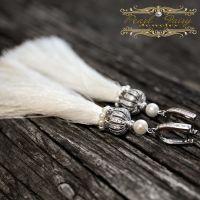 Серьги кисти, серебро 925 застежки и натуральный жемчуг