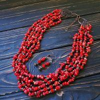 Комплект натуральные кораллы ожерелье семирядне, серьги